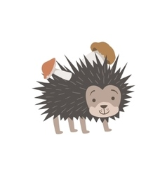 Hedgehog Carrying Two Mushrooms On The Back vector image vector image