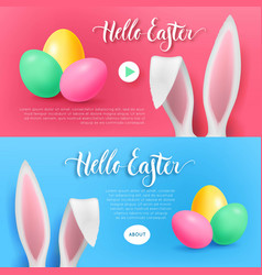 hello easter bunny button set vector image