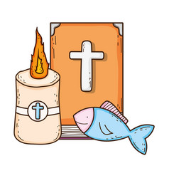 Holy bible book with candle vector