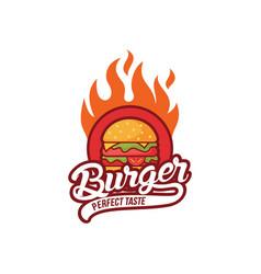 hot burger logo design vector image