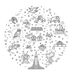 iceland icons tourism and attractions thin line vector image
