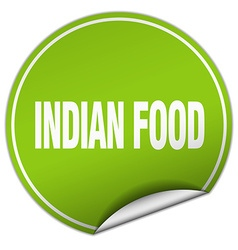 Indian food round green sticker isolated on white vector
