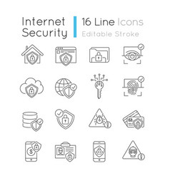 internet security system pixel perfect linear vector image