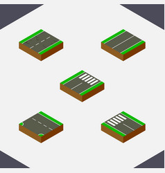 isometric way set of flat foot-slogger down and vector image