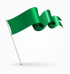 libyan pin wavy flag vector image