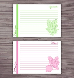 lined recipe card with vegetables on wooden vector image