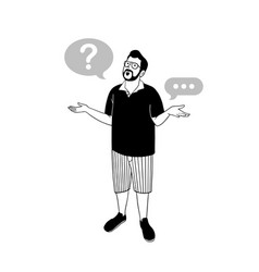 Man and mental question marks vector