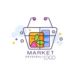 Market original logo sale badge design element vector