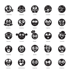 Modern text face filled icons pack vector