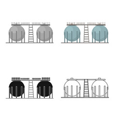 Oil refinery tank icon in cartoon style isolated vector