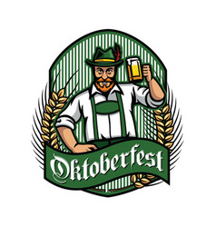 Old man with beer celebrating oktoberfest vector