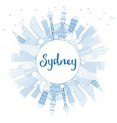 Outline sydney australia city skyline with blue vector