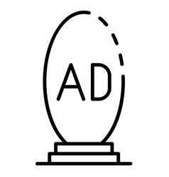 Oval ad lightbox icon outline style vector