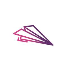 paper plane network social media icon line vector image