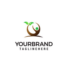 people leaf logo design concept template vector image