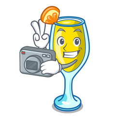 Photographer mimosa mascot cartoon style vector
