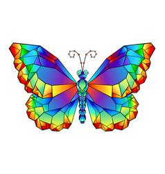 Rainbow polygonal butterfly vector