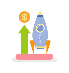 rocket launching business concept startup vector image