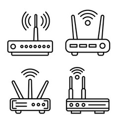 Router icons set outline style vector