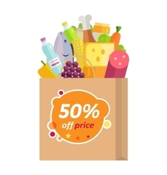 Sale in Grocery Store Flat Style Concept vector