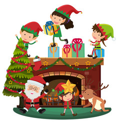 Santa and elves on christmas night vector