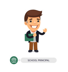 School principal flat cartoon character vector