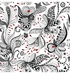 Seamless black and red floral pattern vector