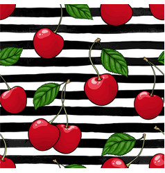 seamless pattern red cherry with leaf on black vector image