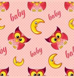 Seamless pattern with owls and moons for baby girl vector