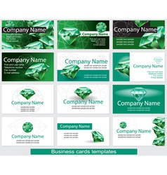 Set business card template with emerald vector