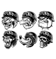 Set of animals bikers design of motorcycle riders vector