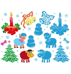 Set of Christmas and New Year stencils vector image