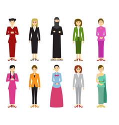 Set of cute woman with traditional dress in flat vector