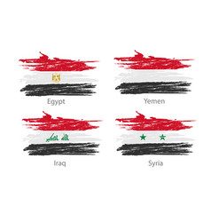 Set of smear painted flags of different countries vector
