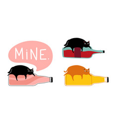 Set with cats and bottles - soda or lemonade wine vector