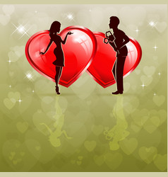 Silhouette of a couple in love with two red hearts vector