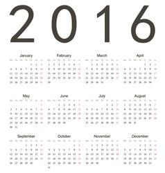 Simple european square calendar 2016 vector image