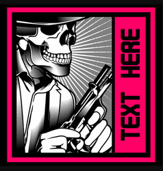 Skull gangster with gun vector