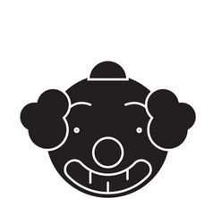 smiling clown emoji black concept icon vector image
