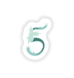 Stiker Abstract number 5 logo icon in Blue vector