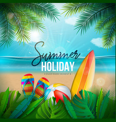 summer holiday with beach ball vector image