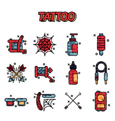 Tattoo icons set vector
