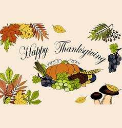 thanksgiving day card with inscription and pumpkin vector image
