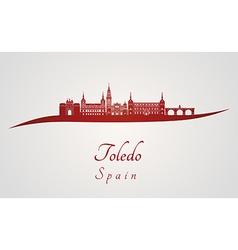 Toledo skyline in red vector image