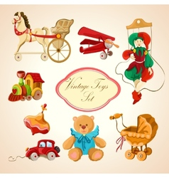 Toys colored drawn icons set vector image