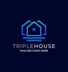 triple house design template vector image