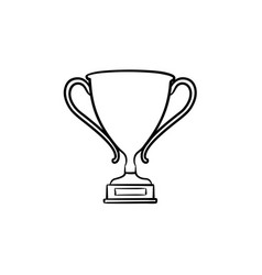 trophy cup hand drawn outline doodle icon vector image