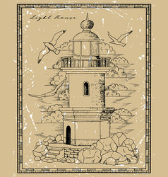 Vintage lighthouse tower with gulls vector
