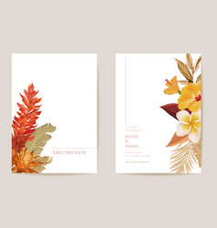 wedding invitation dried tropical palm leaves dry vector image