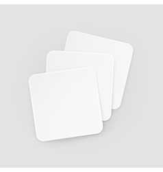 White Square Blank Beer Coasters Isolated vector